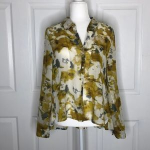 Anthropologie Holding horses yellow cotton top